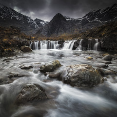 Fairy Pools (Vemsteroo) Tags: longexposure panorama snow mountains skye nature water vertical clouds canon landscape flow outdoors scotland waterfall highlands movement rocks gloomy isleofskye foreboding pano dramatic hike snowcapped rush 5d gloom 24mm cuillins epic tse hebrides mkiii fairypools