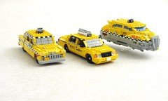 Three generations of taxis in NYC (Mad physicist) Tags: nyc newyork lego cab taxi checker crownvictoria fifthelement