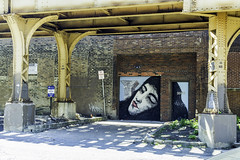 Woman profile graffity between Damen and Western blue line stations pic9 4-25-2016 (Artemortifica) Tags: street bridge sky chicago cars clouds buildings construction blueline crane bikes graffity milwaukee western trucks damen