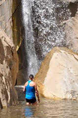 Coolin' Off Under the Waterfall at Tahquitz Canyon (Blue Rave) Tags: palmsprings california tahquitzcanyon tahquitzcanyontrail hike hiking trail nature 2016 park back backside blue tanktop thecolorblue bloke dude guy male mate people walk walkng candid candidphotos candidshots waterfall water wet mountains tahquitzfalls