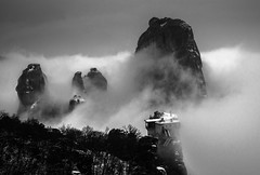 Roussanou monastery (MaRC0B) Tags: sky snow mountains clouds greece monastery meteora kastraki