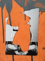 Absence Nude (Djuneid) Tags: wood urban orange collage paper nude poster grey blackwhite paste torn iphone6