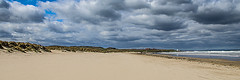 Crowded Beach (Brian Travelling) Tags: uk greatbritain blue sea england sky cloud seascape color colour green beach nature yellow clouds landscape gold grey bay coast sand colours peace natural pentax unitedkingdom britain empty dunes peaceful multicoloured panoramic northumberland coastal northsea desolate cloudscape eastcoast northeastcoast crowdedbeach pentaxdal pentaxkr