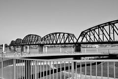 042416-658Fx (kzzzkc) Tags: bw usa nikon day kentucky indiana clear louisville ohioriver pedestrianbridge bigfour d7100