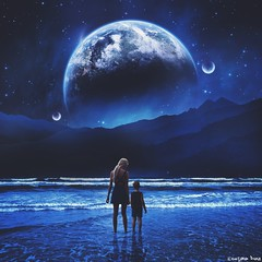 Longing for the old days.  (gusdiaz) Tags: woman art beautiful digital photoshop stars photo amazing waves child arte earth space manipulation planets tierra planeta