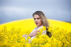 Ania (Pablo Caas) Tags: flower color colour beautiful beauty yellow model flor ania rape modelo amarillo cielo monte mirada belleza pelo colza