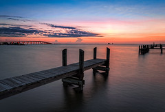 Peaceful morning (Ed Rosack) Tags: longexposure bridge panorama usa water river landscape dock lowlight florida explore titusville centralflorida ndfilter neutraldensityfilter edrosack