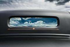 Hot Rod Heaven (Stubble Jumper Photography) Tags: black reflection window clouds hotrod pinstripe ratrod flatblack