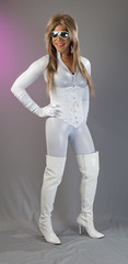 White Hot! (kaceycd) Tags: highheels boots s tgirl gloves corset satin crossdress spandex lycra catsuit tg kinkyboots thighboots wetlook stilettoboots sexyboots operagloves