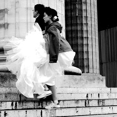 The bride was in sneakers (pascalcolin1) Tags: blackandwhite paris church bride noiretblanc robe sneakers baskets madeleine glise streetview escaliers photoderue marie urbanarte photopascalcolin