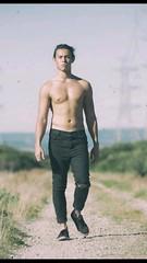 On a dark desert highway (badjonni) Tags: shirtless man male guy pose outdoors model dude solo seb