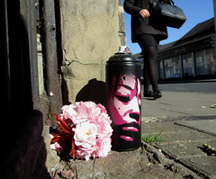 Spring Free Art drop (asboluv) Tags: pink streetart spring stencil blossom can spraypaint asbo afrogirl asboluv freeartfriday spraypaintstreetart