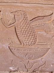 Deir el Haggar, temple facade, right half, detail of rekhyt bird. (dr.heatherleemccarthy) Tags: sculpture monument architecture temple ancient egypt relief oasis dakhleh