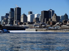 View of downtown Montreal from the Saint Lawrence River (chibeba) Tags: city winter vacation urban holiday canada montral quebec montreal january northamerica qc 2016 citybreak