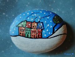 L'hiver sur une roche. Winter on  a rock. (France-) Tags: blue art texture peinture bleu maison 2007 roche paree galet
