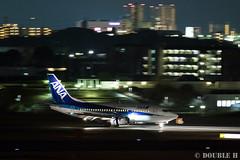Itami Airport at night 2016.1.31 (8) JA8504 / ANA WINGS' B737-500 (double-h) Tags: airplane ana observationdeck b737 itamiairport  itm osakaairport  rjoo ja8504  b737500  ef300mmf28lisiiusm  anawings ana lasora eos7dmarkii