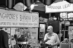 Banana Man (Pedestrian Photographer) Tags: california bw white man black beer 50mm restaurant la leaf los singapore angeles grove farmers market jan walk district january stall banana southern socal fairfax 50 malaysian crawl cashier ribbet 2016 dsc6197 dsc6197b