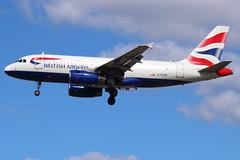 British Airways - Airbus A319-131 - G-EUOF (Andy2982) Tags: landing britishairways sola airliner londonheathrow londonheathrowairport airbusa319131 geuof 27lrunway cn1590 ba745