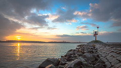 Sunrise over the river (DC P) Tags: bridge sunset sea sky cloud sun color water netherlands beautiful clouds sunrise landscape coast other shine bokeh outdoor side ships ngc award trail shore passion shi refelction bej