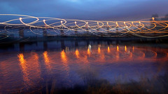 Waltzing by the bridge (AlfredSin) Tags: reflections twilight streetlight melbourne nightscene orangelight westgatebridge pinklake westgatepark canoneos500d canonef1640f4lusm alfredsin
