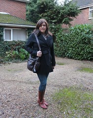Winter warmer (Joanne (Hay Llamas!)) Tags: transgender tg brunette tgirl gurl cute uk brit british britgirl casual winter coat overcoat kennethcole shemale genderfluid genderqueer joanne hayllamas