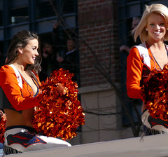 A Couple of Cheerleaders (Colorado Sands) Tags: ladies people woman usa beautiful female america us football women colorado pretty cheerleaders unitedstates nfl denver parade celebration babes afc americanfootball kendal 2016 denverbroncos victoryparade professionalfootball prosports superbowlchampions profootball americansports sandraleidholdt superbowl50