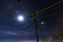 Roof (Derek Mindler) Tags: blue sky moon cold tree beautiful yellow night clouds dark stars cool intense long exposure flare lonely sodium antenna vapor