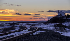 Sunset on the railway (Danny VB) Tags: winter sunset sun snow canada cold canon landscape photography soleil photo december quebec coucher railway neige froid gaspesie 6d 2015
