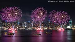 Lunar New Year Fireworks (P2060135) (Michael.Lee.Pics.NYC) Tags: longexposure newyork night newjersey cityscape fireworks olympus chinesenewyear hudsonriver lunarnewyear mkii weehawken markii yearofthemonkey midtownmanhattan hamiltonpark em5 voigtlandernokton175mm