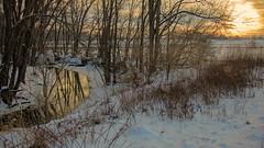 Lick Creek at Mansion Road (myoldpostcards) Tags: road winter sunset snow water rural america creek season landscape frozen illinois stream country mansion goldenhour centralillinois sangamoncounty lickcreek myoldpostcards vonliski