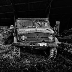 Mercedes-Benz Unimog (Pieter de Knijff) Tags: urban blackandwhite abandoned monochrome truck mercedes benz exploring unimog