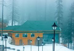 Magic Mist at Khyber (D+J+) Tags: road blue trees sunset mist snow mountains nature lamp beautiful fog hotel heaven post lamppost kashmir khyber dallake gulmarg