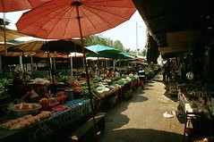 Vegetable Market, Viang Chan (GothPhil) Tags: vegetables 35mm shopping march market kodak sunshade scanned 1991 kodachrome laos stalls asa200 vientiane parasole viangchan thongkhankham