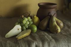 from the larder v.2 (Wendy:) Tags: stilllife green fruit lemon dof pears grapes lime tiltshift hession