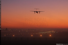 Drifting into Gatwick (zoomerphil) Tags: london sunrise dawn lights fly flight land descend propeller runway organe airliner gatwick lgw egll