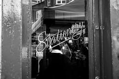 Stationery. (Nicola Antonazzo) Tags: road street uk blackandwhite bw london window monochrome 35mm typography blackwhite fuji dof display handmade streetphotography columbia font fujifilm script stationery 2016 agfascala200 xt10 fujixt10