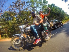 Royal Life (ismailboztuna) Tags: india smile freedom goa free fisheye motorcycle palolem royalenfield hi5 gopro