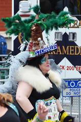 St. Charles - Dames de Perlage walker - Krewe of Tucks parade (Monceau) Tags: walking fur women colorful neworleans parade mardigras stcharles headdress beadwork streetnames kreweoftucks damesdeperlage