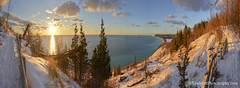 Lake Michigan ... sunset of awesomeness (Ken Scott) Tags: winter sunset panorama usa snow fence march michigan dune lakemichigan greatlakes trail vista boardwalk freshwater voted leelanau 2016 45thparallel empirebluff fhdr southbarlake sbdnl sleepingbeardunenationallakeshore mostbeautifulplaceinamerica