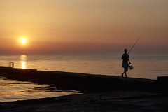 Coming back from catching fish (georg19621) Tags: summer sky people holiday water night season landscape events misc landschaft genre sunsetsunrise kroatien umag