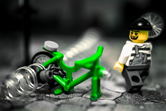 Unavoidable (legomeee) Tags: white black color bicycle wheel with lego stealing legofun legominifigures legolife legophotography legophoto legography legominfigs legoaccessory