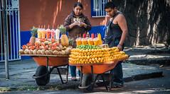 2016 - Mexico City - Fruit in Coyoacan (Ted's photos - Returns mid May) Tags: two people fruit mexico nikon mexicocity couple wheels streetscene pineapple cropped vignetting coyoacan wheelbarrow straws mangos 2016 fruitcups truper tedsphotos nikonfx peopleandpaths tedsphotosmexico nikond750
