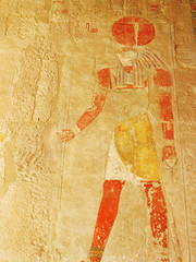 Old Horus Mural, Queen Hatshepsut's Temple Wall Painting (shaire productions) Tags: travel mountains sahara nature wall painting outdoors temple site sand mural image tomb egypt picture photograph valley egyptian burial horus mythology myth valleyofthekings mythos queenhatshepsut