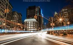 Divergence pt 2 (DSC03699) (Michael.Lee.Pics.NYC) Tags: longexposure newyork night twilight cityscape sony broadway streetscene esb empirestatebuilding lighttrails bluehour fifthavenue traffictrails flatirondistrict a7rm2 zeissloxia21mmf28
