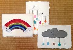 "Handmade Sky Friends Cards 2"" (anczelowitz) Tags: cloud cute art collage fruit kids paper star rainbow sweet handmade craft thai papel papier stitched hilltribe kozo nooknook sweetwallart"