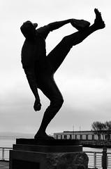 Juan Marichal statue at AT&T Park (dalecruse) Tags: sanfrancisco california city blackandwhite statue downtown cityscape baseball embarcadero giants mlb lightroom majorleaguebaseball attpark d7000