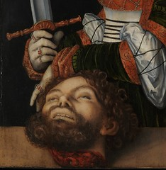 Lucas Cranach the Elder  Judith Victorious, c. 1530. Painting: Oil on linden wood, 89.5 x 61.9 cm. Metropolitan Museum of Art, New York.  In this panel Judith presents the severed head of Holofernes, the Assyrian general directing the siege of her city, (ArtAppreciated) Tags: art history female century portraits painting women with head fineart blogs lucas german portraiture artists judith elder violence bible strong northern 16th renaissance biblical narrative figurative cranach metmuseum holofernes artblogs tanakh 1530s tumblr artoftheday artofdarkness artappreciated artofdarknessco artofdarknessblog date1530