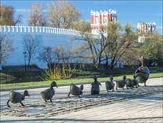 """Russia. Moscow. Sculptural composition """"Make Way for Ducklings"""". (Yuri Degtyarev) Tags: city make composition way for russia moscow capital ducklings panasonic micro m42 g3 polarizer russian sculptural moskau federation 43 moscou 442 moskva 582      fourthirds   helios442   p160  442   42"""