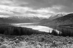 Loch Loyne Mono (Jonny Hirons) Tags: blackandwhite mountains monochrome landscape mono scotland loch snowcappedmountains lochloyne