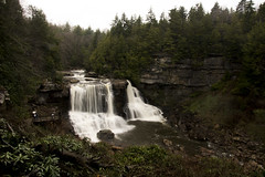 Blackwater Falls (StephenChaotic) Tags: black tree green nature water fog dark point landscape grey mood moody ominous gray foggy scenic falls wv evergreen waterfalls greenery blackwater lindy gottowv